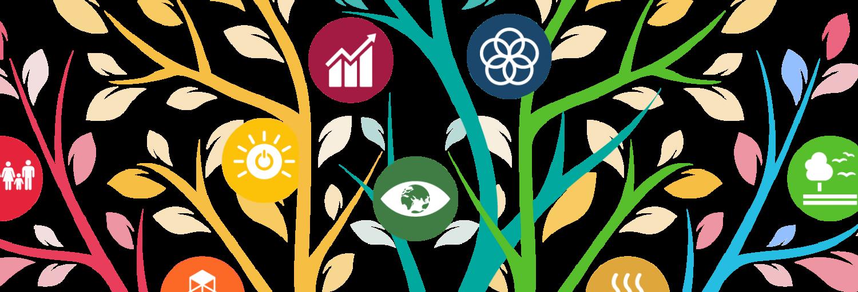 Getekende kleurrijke takken met daarin bollen met iconen van de sustainable development goals