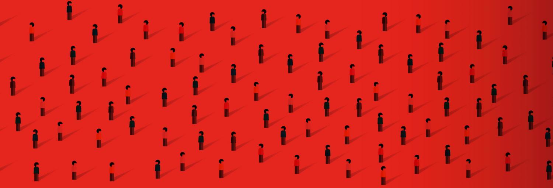 Rood vlak met daarop getekende poppetjes.