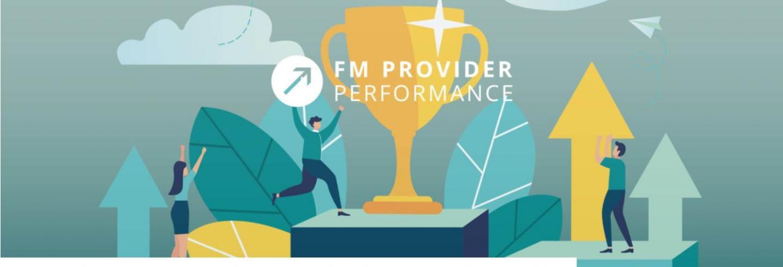 Infograhic met juichende mensen, pijlen en blokken met daarop een beker. Ook is de tekst FM Provider Performance Onderzoek 2020 weergegeven.