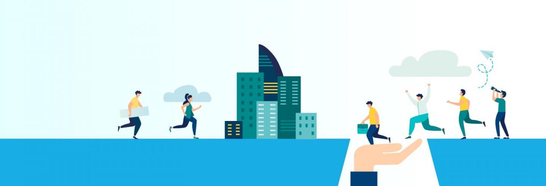 Illustratie animatiefiguurtjes die naar een kantoorpand lopen
