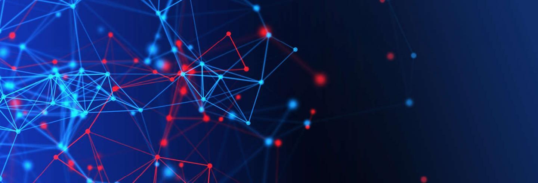 Blauwe achtergrond met licht blauwe en rode connectiepunten.