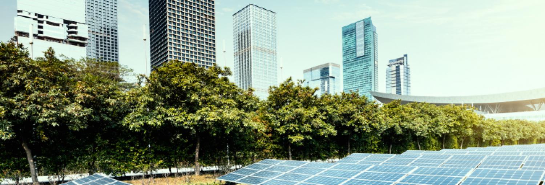 Veld met zonnepanelen voor een aantal hoge flats en of kantoorgebouwen