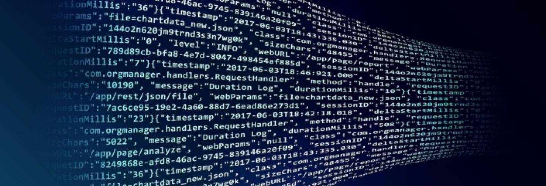 Een lijn van cijfers van een computer met een donkerblauwe achtergrond.